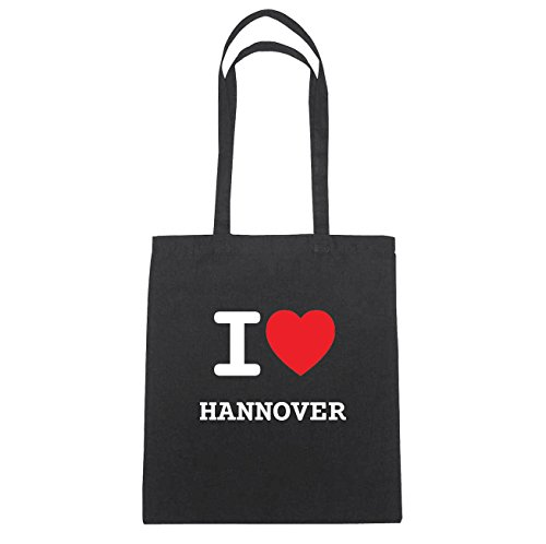 JOllify Hannover Borsa di cotone B711 schwarz: New York, London, Paris, Tokyo schwarz: I love - Ich liebe