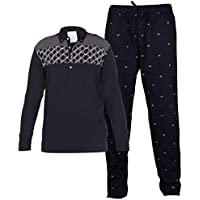 Dream of Glory Inc. Men's Full Sleeve Cotton Printed Polo Shirts with Lounge Printed Pyjama Bottom Set for Men : S-XXL (Pack of 2)
