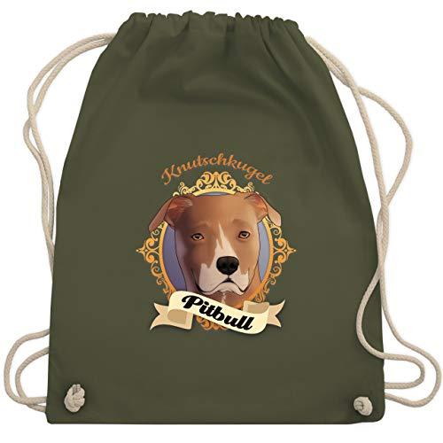 Hunde - Pitbull - Knutschkugel - Unisize - Olivgrün - WM110 - Turnbeutel & Gym Bag
