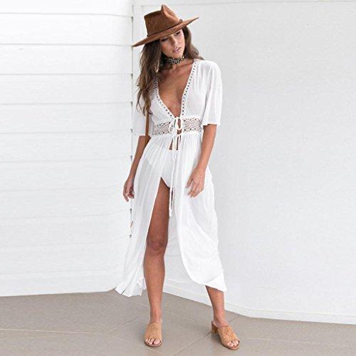 Kleider Damen, Bekleidung Longra Frauen SommerkleiderBikini Badebekleidungs Abdeckungs-Wolljacke Strand-Badeanzug-Kleid White