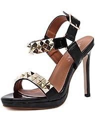 NobS Mujeres Remaches Bombas Zapatos TacóN Alto Cuero Hueco Club Nocturno Sandalias Zapatos Abiertos Zapatos TacóN Aguja , black , 37