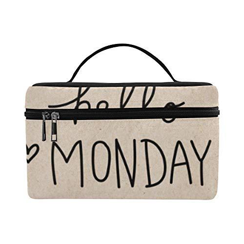 Ich Liebe glücklich Montag Wörter große Kapazität Größe Dame Kosmetiktasche Make-up Veranstalter Zug Kulturbeutel Lunchbox für Mädchen jugendlich Frauen Reisen mit klarem Reißverschluss und Single