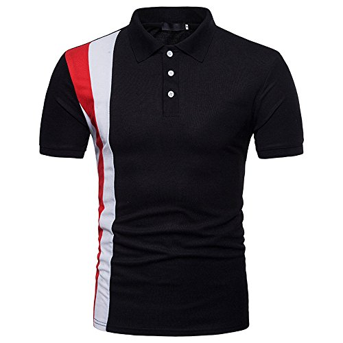 2a646a0bb3f18 PRINCER Man Patchwork Short Sleeve Casual Polo T Shirt Soft Slim Fit  Fashion Super Premium Pollover