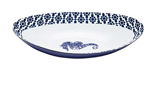 Master Class Plat 'Hippocampe' Plat à servir en porcelaine Taille L, 33x 17cm (33x 16,5cm)–Bord bleu