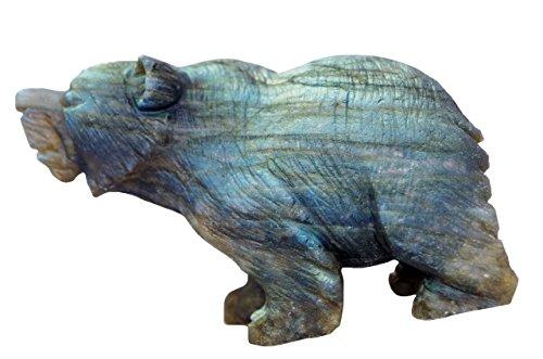ier Carving Bären Statuen natürliche Labradorit Home Figur (3.0''-3.4'', Grün) (Einzigartige Halloween-kunst Und Handwerk)