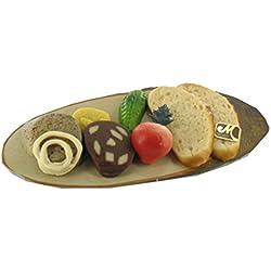 Odenwälder Marzipan Bauernvesper 200g. Vesperbrett aus Pappe dekoriert mit Leberwurst, Blutwurst, Gurke, Senf, Zwiebel, Radieschen und Brotscheibe aus feinem Edelmarzipan.