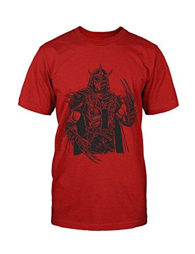 Shredder Punk T-Shirt Neu Fun Punk Oi HC Old School Patches Lustig Grunge Satire Rot