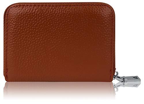 Premium Kredit-Karten-Etui Geldbörse Echt-Leder mit Edel Stahl rundum Reißverschluss Zipper 12 Fächer RFID Schutz - klein Mini Slim Karten-Hülle Portemonnaie Portmonee Brieftasche Geldbeutel braun