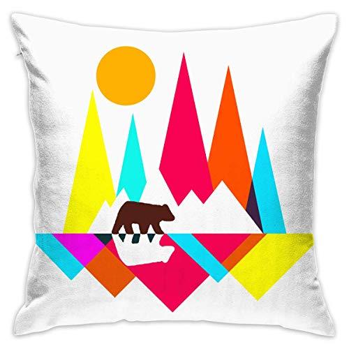 Suxinh Rainbow Mountain Bear Soft Cushion Cover for Chair 18 X 18 Inches -