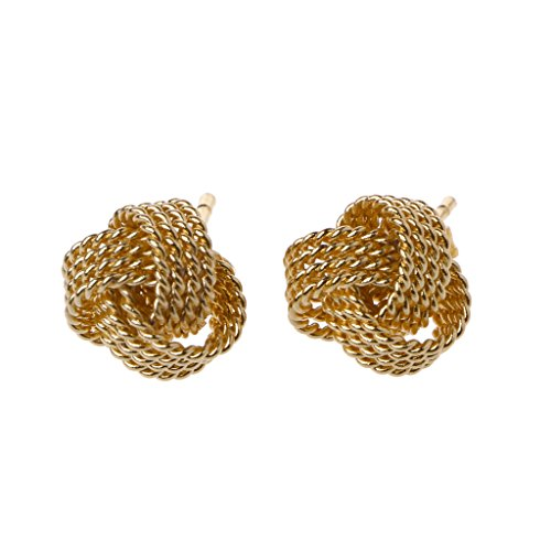 Kofun Ohrringe, Classic Silvery Golden Twisted Love Knot Ball Stud Earrings for Women Jewelry Gold (Stud Love Knot Ohrringe)