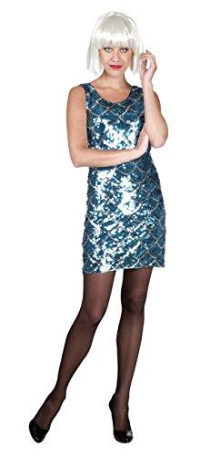 Boland 87154-87154 - Abito Glitter Paillettes Disco Party, Azzurro, Taglia M