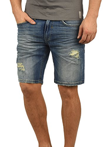 Blend Deno Herren Jeans Shorts Kurze Denim Hose Mit Destroyed-Optik Aus Stretch-Material Regular Fit, Größe:M, Farbe:Denim Darkblue (76207)