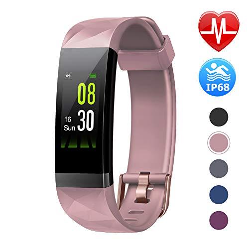 LETSCOM Fitness Armband mit Pulsmesser, Aktivitätstracker Schrittzähler Uhr Smartwatch 0,96 Zoll Farbbildschirm IP68 Wasserdicht und 14 Trainingsmodi, Anruf SMS Nachrichten für iOS Android Handy