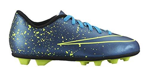 Nike Jr Mercurial Vortex II Fg-R, Scarpe da Calcio Unisex Bambini, UK Blu / Nero / Verde (Squadron Blue / Sqdrn Bl-Blk-Vlt)