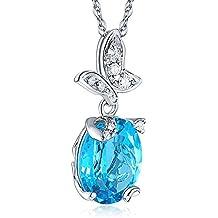 14K oro bianco 3,3ct Topazio Blu Ciondolo A Forma Di Farfalla Collana 0,17ct Diamante