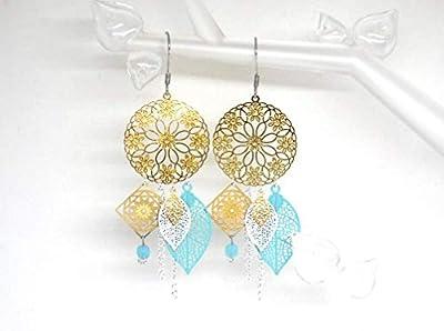 Boucles d'oreilles fleurs fleuries feuilles doré vert menthe blanc acier inoxydable bohème chic idée cadeau femme Noël