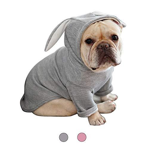 Bein 2 Kostüm Hunde - Amakunft Plüsch-Kostüm mit Kapuze und Hasenohren für Kleine Hunde und Katzen, modisch, 2 Beine, warme Baumwolle