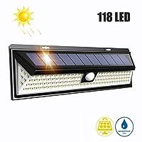 ☀Breite Anwendbarkeit  Solar Betriebene Outdoor Wandleuchte für Garten, Hof, Patio, Wand, Garage, erhellt Ihren Heimweg.  ☀Leistungsstarke Beleuchtung  Solar Wandleuchten, die mit 118 LED Solarleuchten Außen, Effiziente Beleuchtung, mit 120 Grad-Weit...