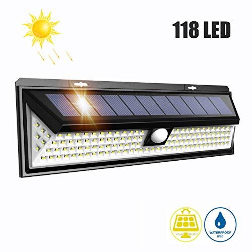 LTPAG Solarlampen für Außen 270 ° Vierseitige Beleuchtung IP65 Wasserdichte Solar Aussenleuchte mit Bewegungsmelder für Garten, Patio, Deck, Hof