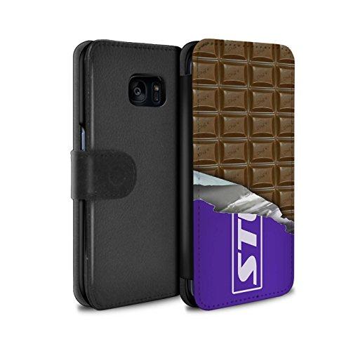 Mobile-edge-schokolade (Stuff4® PU-Leder Hülle/Case/Tasche/Cover für Samsung Galaxy S7 Edge/G935 / Dairy Milk Blocks Muster/Schokolade Kollektion)