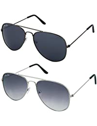 Silver Kartz Aviator Combo for Unisex Sunglasses(AV001-0040 50 Black)