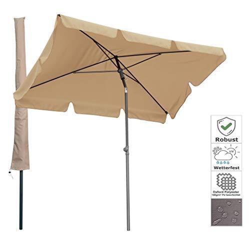 QUICK STAR Balkon Sonnenschirm 200x125cm Balkonschirm Rechteckig Knickbar Sand Gartenschirm UV 50 mit Schutzhülle