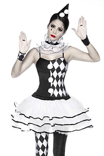 Halskrause Kostüme (Damen Harlekin Kleid Kostüm Verkleidung mit Hut, Slip, Stulpen, Halskrause aus mit Karo Muster Satin)
