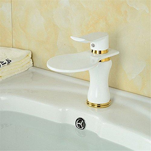 MNLMJ Einfache kupferne heiße und kalte Wasserhähne KüchenarmaturKupfer lackiert Gold Badezimmer Waschtischarmatur milchig weißen Mundwasser Wasserfall Becken Wasserhahn Geeignet für alle Badezimmer-