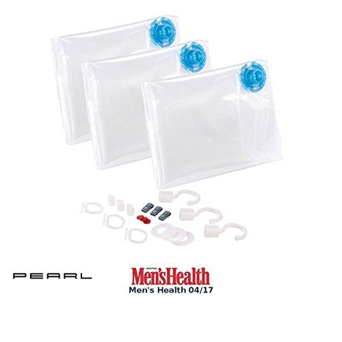 PEARL Kleidertaschen: 3er-Set Vakuum-Beutel zur Saugkompression, mit Bügelhaken, 70 x 140 cm (Kleiderhüllen) (Kleidung Hängen)