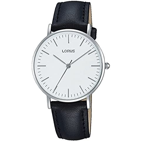 Lorus Mens Black Leather Strap White Dial