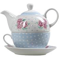 Pastel Floral Polka Dot Tea For One Teapot Pot Cup And Saucer Serving Set