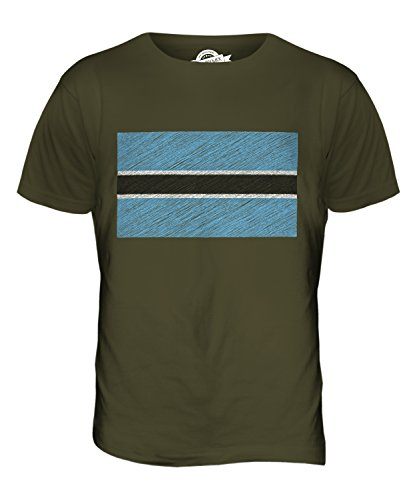 CandyMix Botswana Bandiera Scarabocchio T-Shirt da Uomo Maglietta Verde oliva