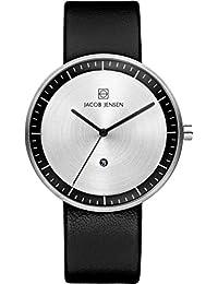 Jacob Jensen Jacob Jensen Strata Mens Black Watch 270 - Reloj de pulsera hombre, piel, color negro