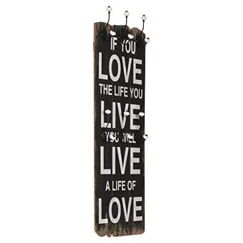 VidaXL Perchero Pared Love Life 6 Ganchos 120x40cm