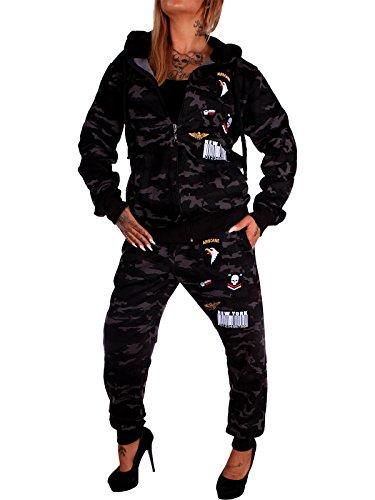 Damen Jogging-Anzug USA-Patches 685 (XXL-fällt groß aus, Anthrazit-Camouflage)