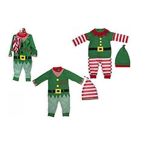 Kleinkind / Baby Weihnachten Elf Outfit. Spielanzug und Hut. 2 Entwürfe (9-12 Monate, grün gestreift)