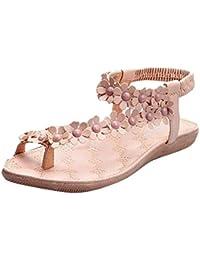 DANDANJIE Damenschuhe Spring Flache Ferse Hausschuhe & Flip Flops Low Heel Straps Bohemian Damen Sandalen (Farbe...
