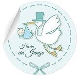 24 niedliche Baby Aufkleber   Sticker mit Storch Hurra ein Junge, MATTE universal Papieraufkleber für Einladungen, Geschenke, Etiketten für Tischdeko, Pakete, Briefe und mehr (ø 45mm