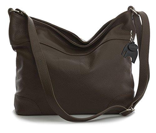 LiaTalia Damen italienische Echtleder Schultertasche Hobo mit Schutz Staubbeutel - Jane (Handtasche Hobo Medium)