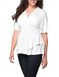 Blusa Talla Grande para Mujer, LILICAT Camisa Cuello V profundo sexy Media manga, Camisa Otoño Cintura alta Suelto Casual Señoras (Blanco, 4XL)