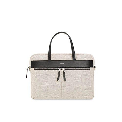 Knomo 119-101-NCV Mayfair Hanover Slim Briefcase schmale und äußerst leichte Damen Notebook-Aktentasche für 14 Zoll Notebooks | White Linen