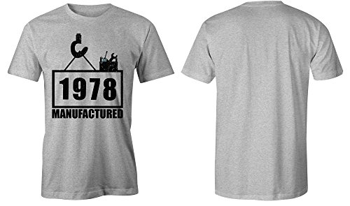 Manufactured 1978 - Rundhals-T-Shirt Männer-Herren - hochwertig bedruckt mit lustigem Spruch - Die perfekte Geschenk-Idee (05) grau-meliert