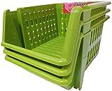 Whitefurze Stacking Basket Set of 3, Plastic, Leaf Green, 18 cm