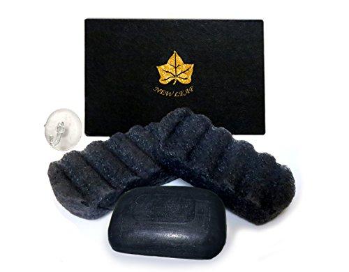 Charcoal Body Care Kit Gift Box - Charcoal Soap + Konjac Sponge Body Scrub Treatment for Acne, Psoriasis, Oily Skin, Shaving Rash, Ingrown Hairs, Bacteria, Fungi & Body Odour - New Leaf Products