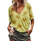 Abbigliamento da Donna, T-Shirt con Stampa a Forma di Cuore Allentata con Scollo a V e Maniche Lunghe da Donna