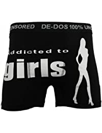 STYLE MIXX Mens De Dos 100% Uncensored 'ADDICTED TO GIRLS' Designer Novelty Boxer Shorts Underwear Rude Sexy Boxer Trunks (XL - EXTRA LARGE, BLACK)