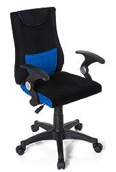 hjh OFFICE 670470 Kinder- und Jugenddrehstuhl KIDDY PRO AL Schwarz / Blau Schreibtischstuhl mit Armlehne