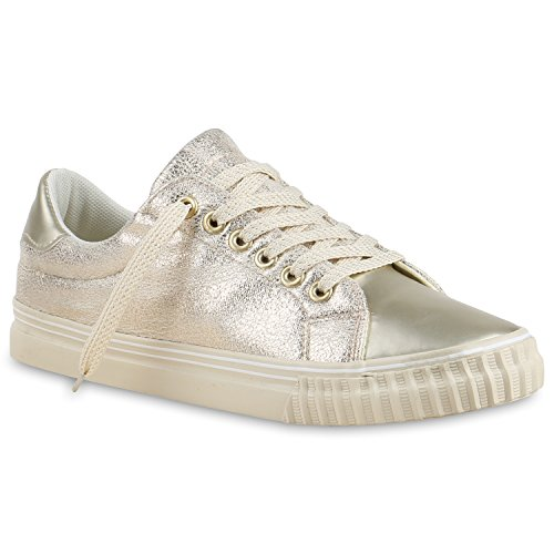 Glänzende Damen Sneakers Glitzer Metallic Sneaker Low Pailletten Flats Turn Leder-Optik Schuhe 133612 Gold Gold Metallic 40 | Flandell®