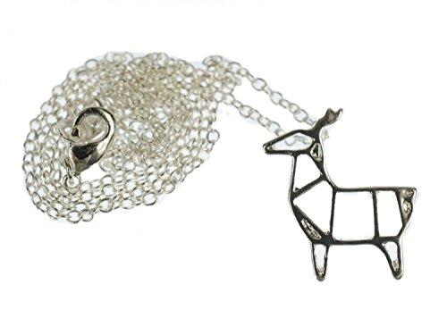 miniblings Collar de Cadena REH 45cm Reno de los Ciervos de Plata Abstracto