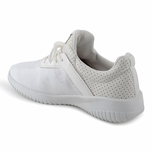 Damen Sneaker Sportschuhe Schnür Lauf Pailletten Lack Freizeit Glitzer Fitness Low Top Schuhe Weiß